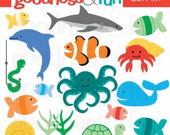 Clip Art Sea Creatures Clipart sea animal clipart etsy buy 2 get 1 free in the digital ocean instant download