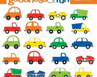 Buy 2, Get 1 FREE - Traffic Jam Transportation Clipart - Digital Cars & Trucks Clipart  - Instant Download