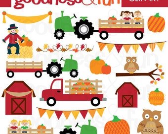 Buy 2, Get 1 FREE - Fall Harvest Fall Clipart - Digital Fall Clipart - Instant Download