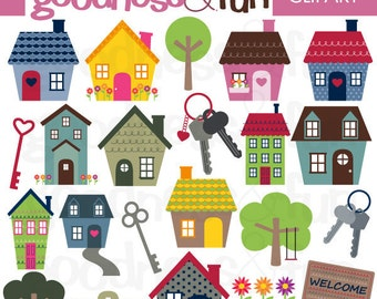 Buy 2, Get 1 FREE - Home Sweet Home Clipart - Digital House Clipart - Instant Download