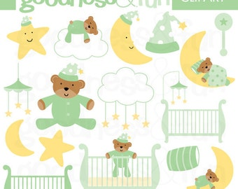 Buy 2, Get 1 FREE - Sweet Dreams Green Clipart - Digital Baby Shower Clipart - Instant Download