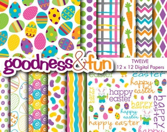 Buy 2, Get 1 FREE - Easter Brights Easter Digital Papers - Digital Easter Paper Pack - Instant Download