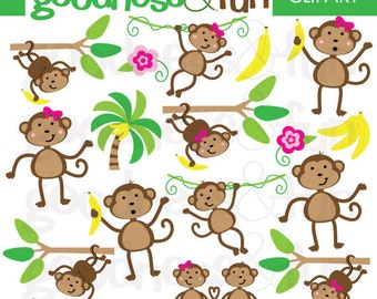 Buy 2, Get 1 FREE - Monkey See Clipart - Digital Monkey Clipart  - Instant Download
