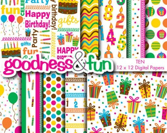 Buy 2, Get 1 FREE - Birthday Extravaganza Digital Papers - Digital Birthday Paper Pack - Instant Download