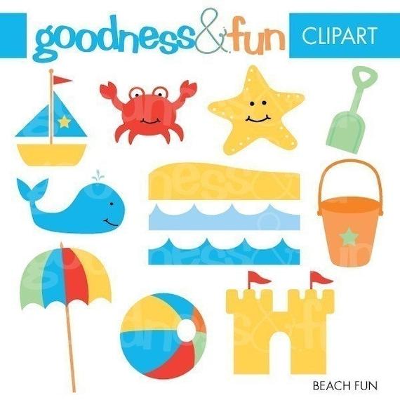 Beach Fun Clipart Digital Beach Clip Art by goodnessandfun