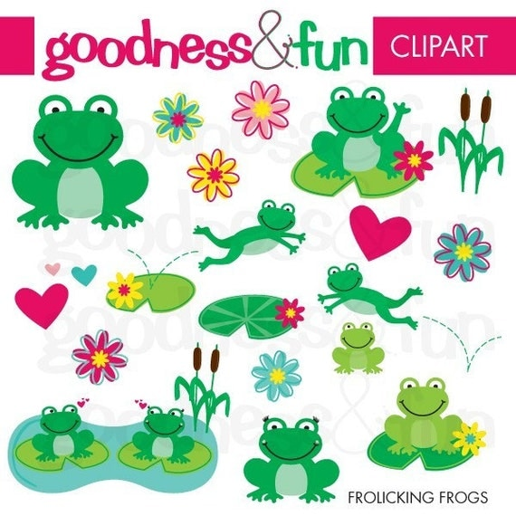Buy 2, Get 1 FREE - Frolicking Frogs Clipart - Digital Frog Clipart - Instant Download