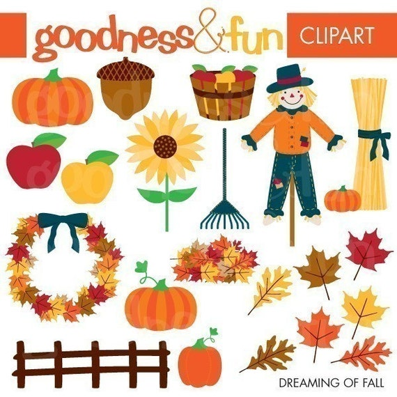 Buy 2, Get 1 FREE - Dreaming of Fall Clipart - Digital Fall Clipart - Instant Download