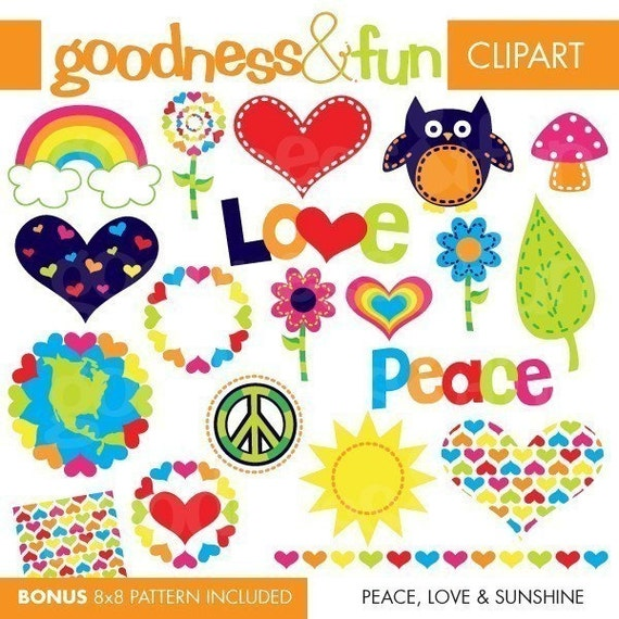 Buy 2, Get 1 FREE - Peace, Love and Sunshine Clipart - Digital Peace Love Clipart - Instant Download