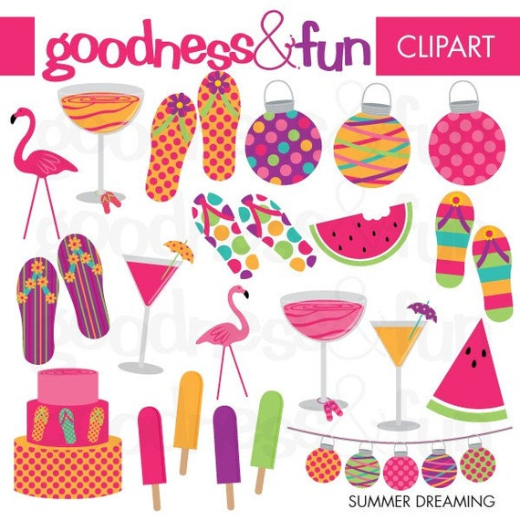 Buy 2, Get 1 FREE - Summer Dreaming  Clipart- Digital Summer Clipart - Instant Download