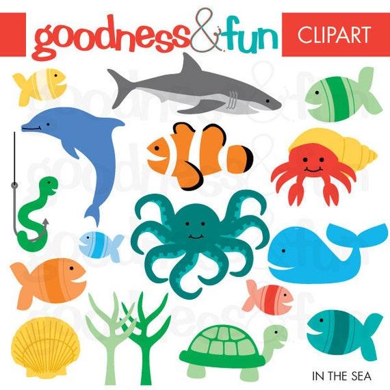 Buy 2, Get 1 FREE - In The Sea Animal Clipart - Digital Ocean & Sea Animal Clipart - Instant Download