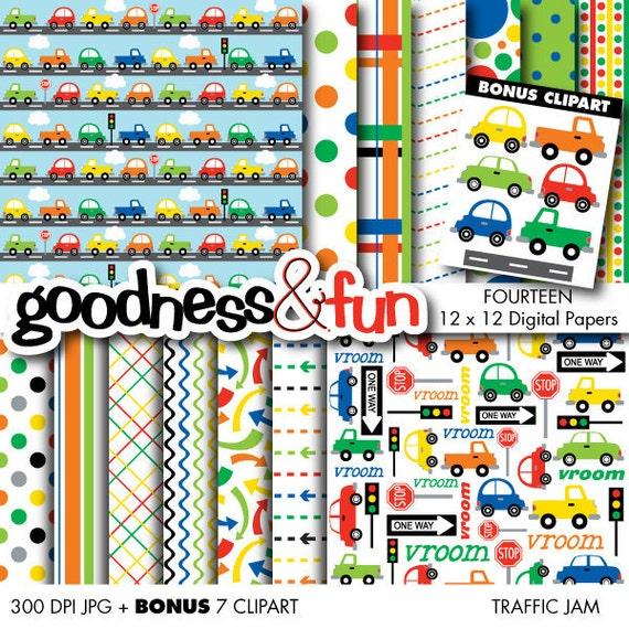 Buy 2, Get 1 FREE - Traffic Jam Digital Papers - Digital Transportation Paper Pack - Instant Download