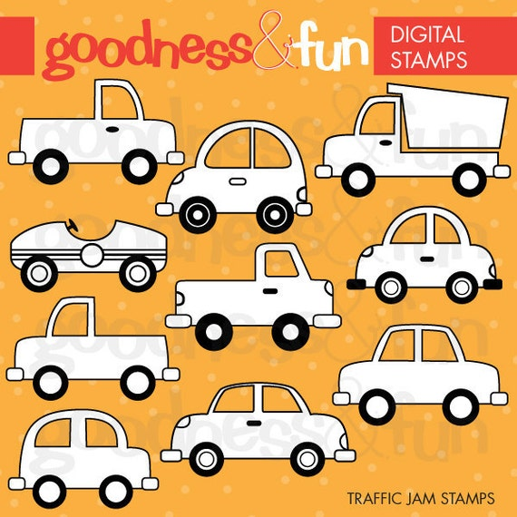 buy 2 get 1 free traffic jam digital stamps digital car. Black Bedroom Furniture Sets. Home Design Ideas