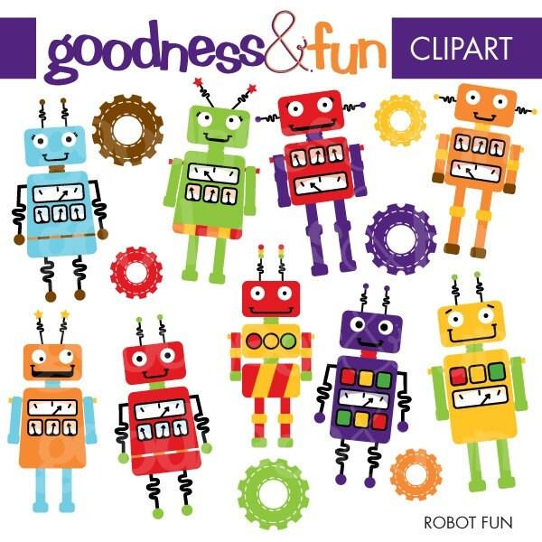 Buy 2 Get 1 FREE Robot Fun Clipart Digital Robot Clipart