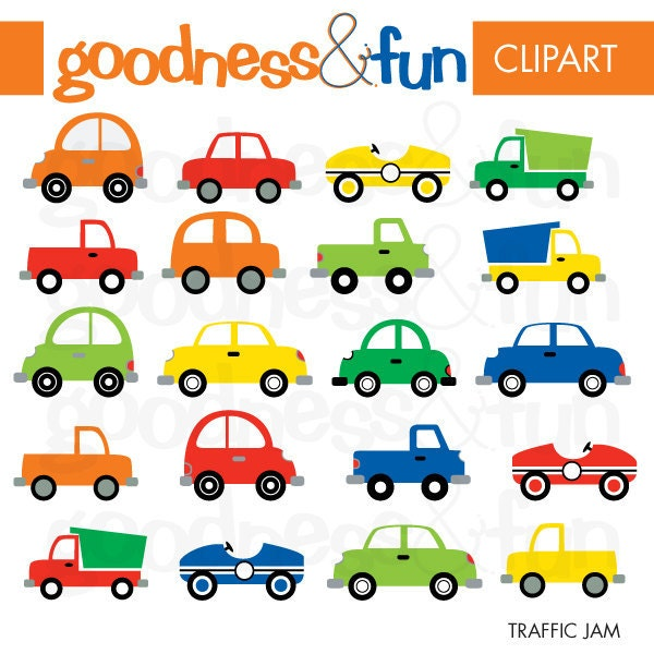 Buy 2 Get 1 FREE Traffic Jam Transportation Clipart