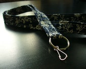 Fabric Lanyard - blue with white flowers