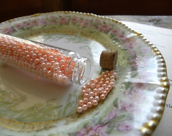 Vintage Faux Pearls in Glass Bottle