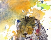 Lion in a splash of color Animal Watercolor - Fine Art Print Great Baby Nursery Art, or For Any Lion Lover