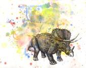 Triceratops Dinosaur Watercolor Painting - Original Watercolor Painting Great Children Kids Art for Room
