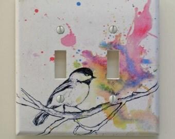 Chickadee Bird Art Decorative Light Switch Plate Cover Made From Original Art Work