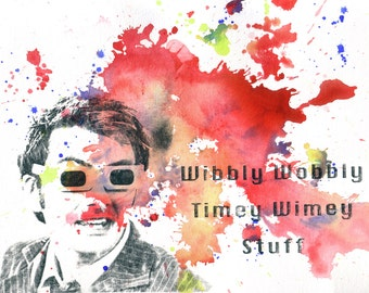 Doctor Who Poster Art 10th Doctor David Tennant Timey Wimey Watercolor Painting 8 X 10 in. Doctor Who Print Poster Wall Art Geek Home Decor
