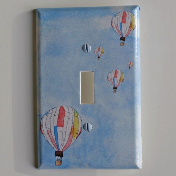 Hot air balloons decorative light switch plate cover baby for Decor light switch