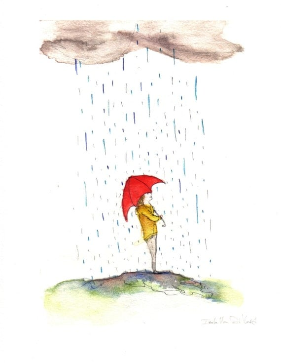 When it Rains it Pours Fine Art Print For Sale Great Kids Room Decor, Baby Nursery Art, Or for Anyone who Loves Standing in the Rain