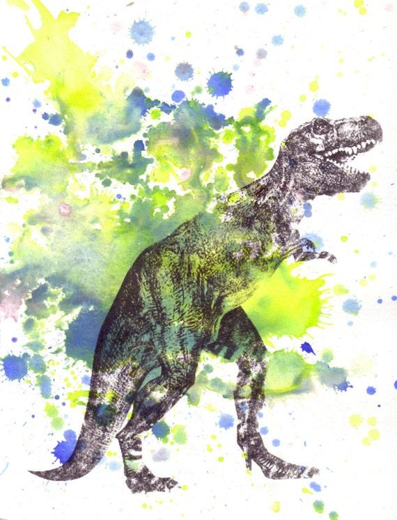 Tyrannosaurus Rex T Rex Dinosaur Watercolor Painting - Original Watercolor Painting Great Children Kids Art for Room