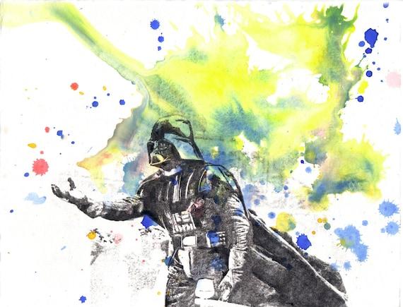 Star Wars Art Darth Vader Watercolor Painting Original