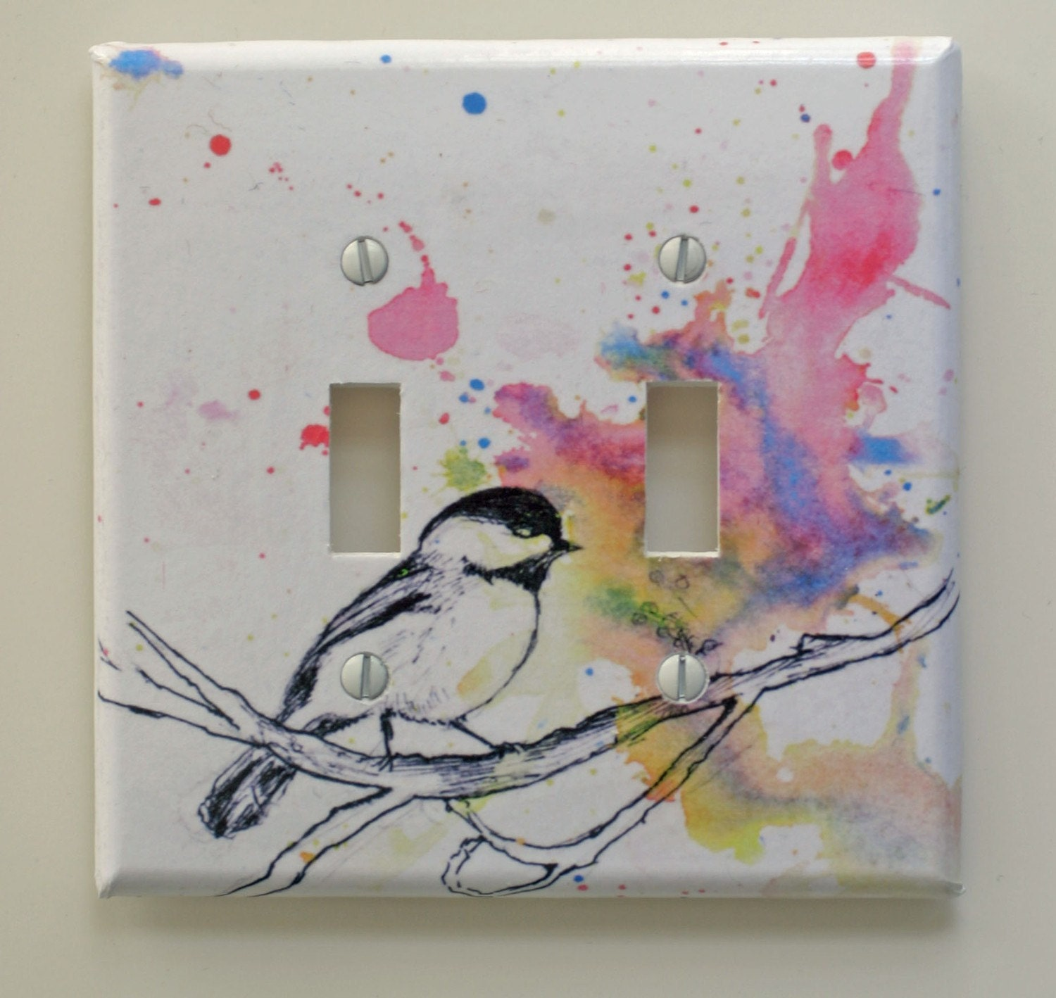 Chickadee Bird Art Decorative Light Switch Plate Cover Made