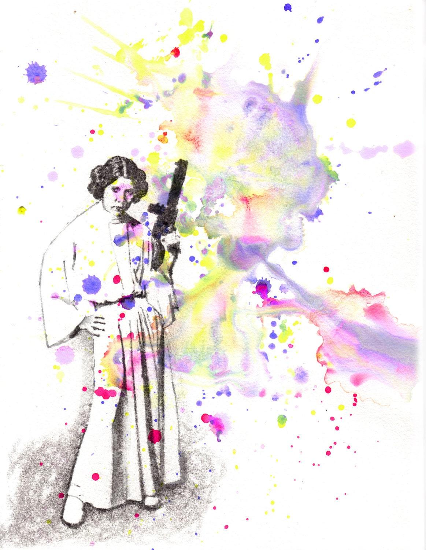 Star Wars Art Princess Leia Watercolor Painting Original