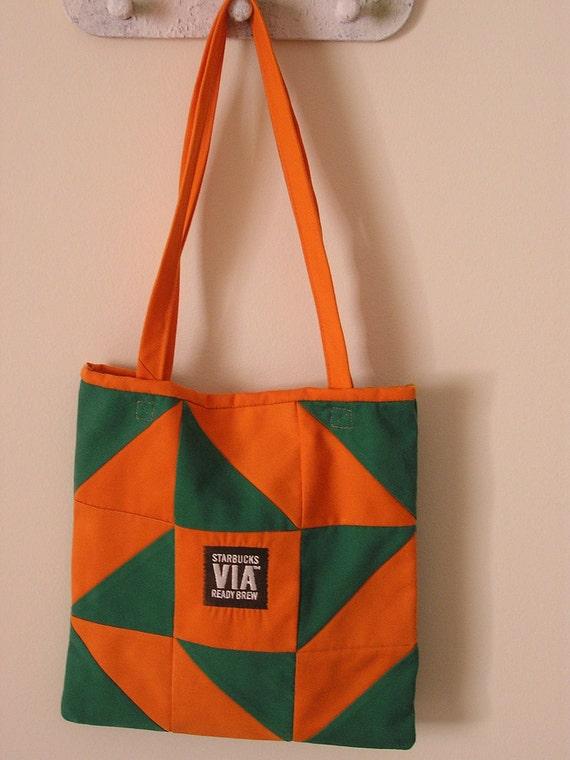 Starbucks Repurposed/Upcycled Apron Tote Bag