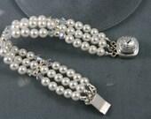 fresh water pearls bracelet white, Swarovski crystals, sterling silver
