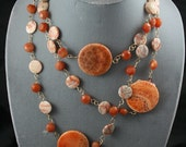 carnelian necklace orange long