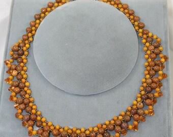 yellow necklace netted jasper and Swarovski