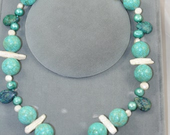 turquoise necklace,  pearls, risso faile