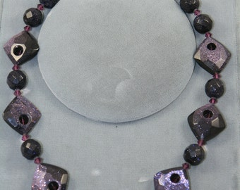goldstone blue, purple Swarovski crystals necklace