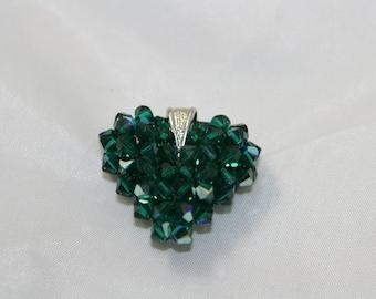 dark green Swarovski crystals Puffy Heart pendant