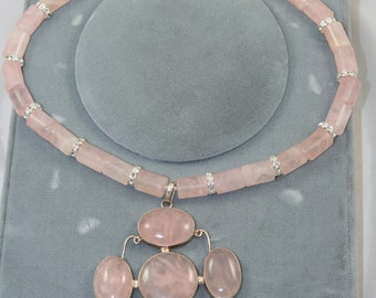 pink quartz pendant necklace