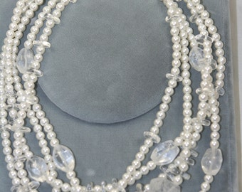 multi strand glass pearls necklace