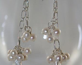 sterling silver white pearl earrings