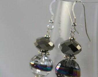 sterling silver shiny glass dangle earrings