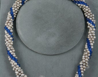 fresh water pearls necklace crochet blue Swarovski crystals with sterling silver clasp