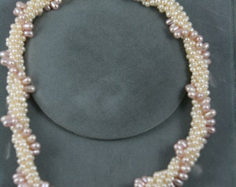fresh water pearls necklace white and pink crochet with sterling silver clasp