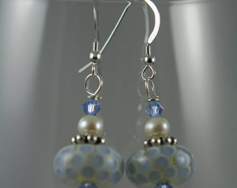 white and blue lampwork glass, fresh water pearls, Swarovski crystals, sterling silver, dangle earrings