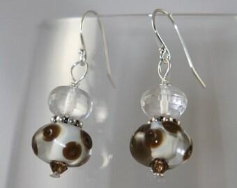 brown dots glass lampwork Swarovski crystals, sterling silver dangle Earrings
