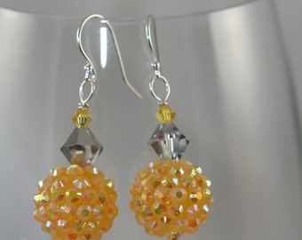 yellow glass shiny dangle Swarovski crystals sterling silver Earrings