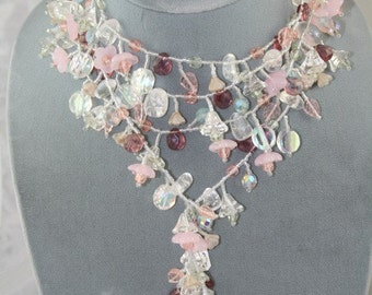 pink necklace glass lariat long