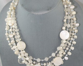 bridal necklace multi-strand white Swarovski pearls stones
