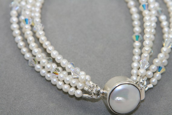 fresh water pearls bracelet white multistrand with  Swarovski crystals and sterling silver clasp