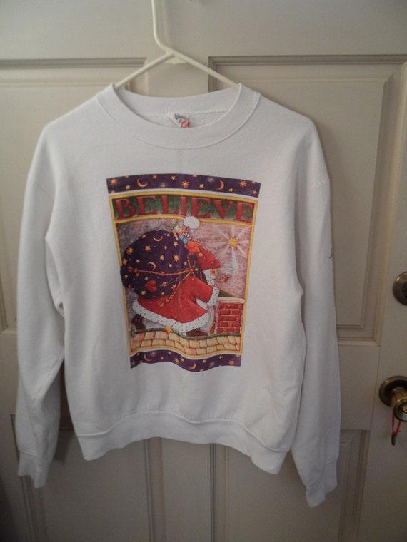 Vintage Mary Engelbreit  BELIEVE  Santa Christmas Sweatshirt
